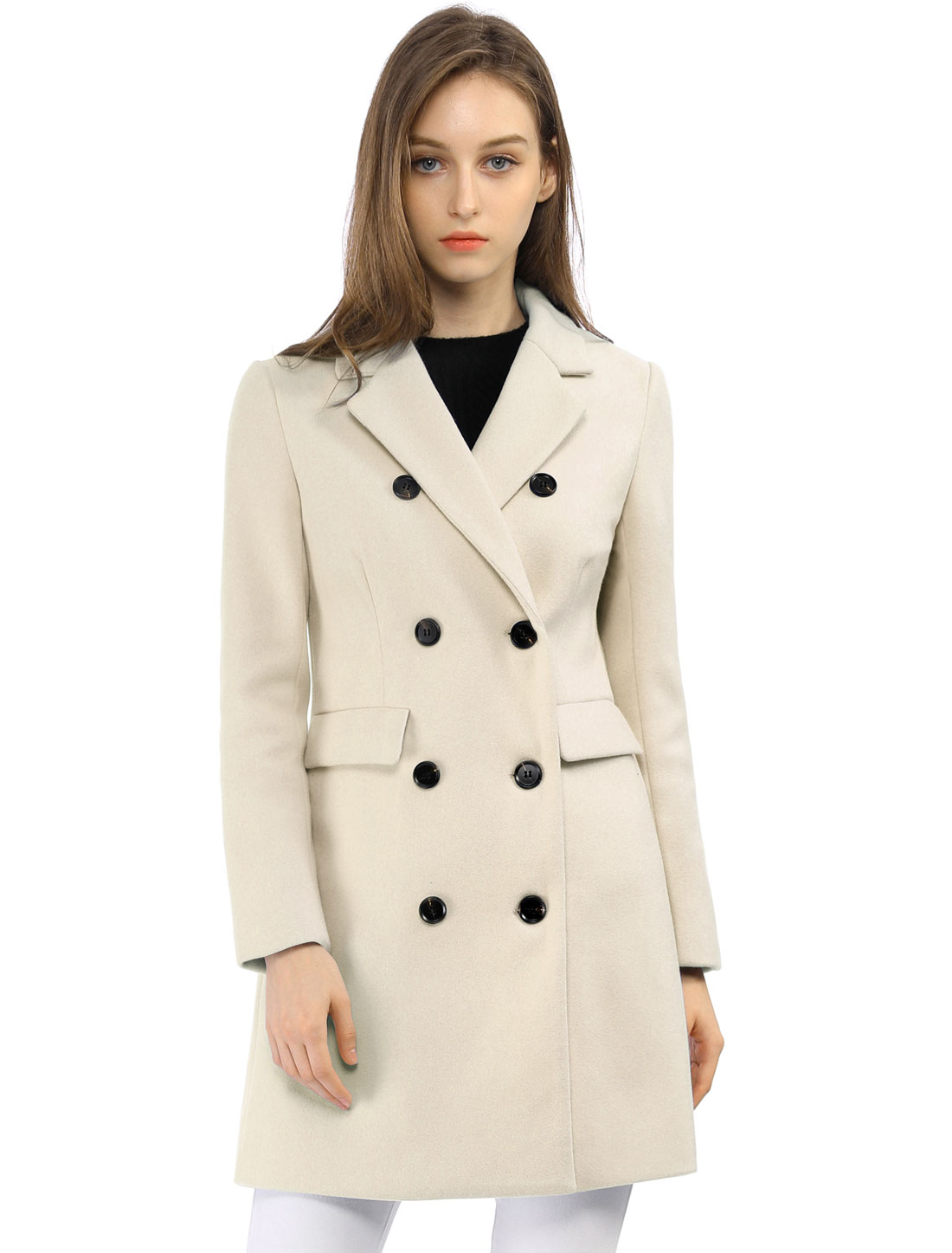 Women Notched Lapel Double Breasted Trench Coat Beige XS