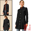 Women's Pockets Tie Waist Single Breasted Faux Suede Trench Coat Black S