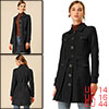 Women's Pockets Tie Waist Single Breasted Faux Suede Trench Coat Black L