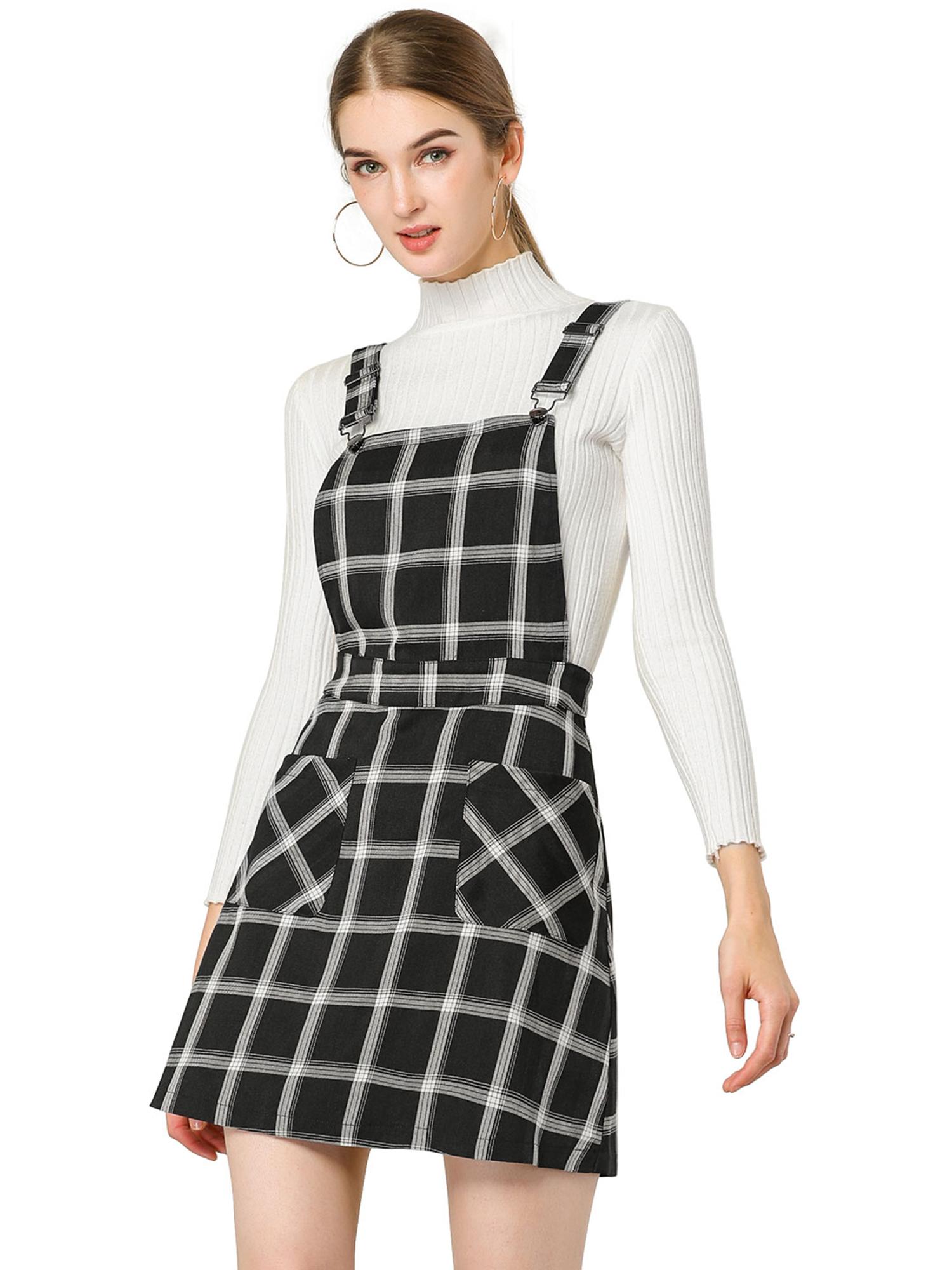 Women's Plaids Adjustable Strap Knee Suspender Dress Black-White L (US 14)