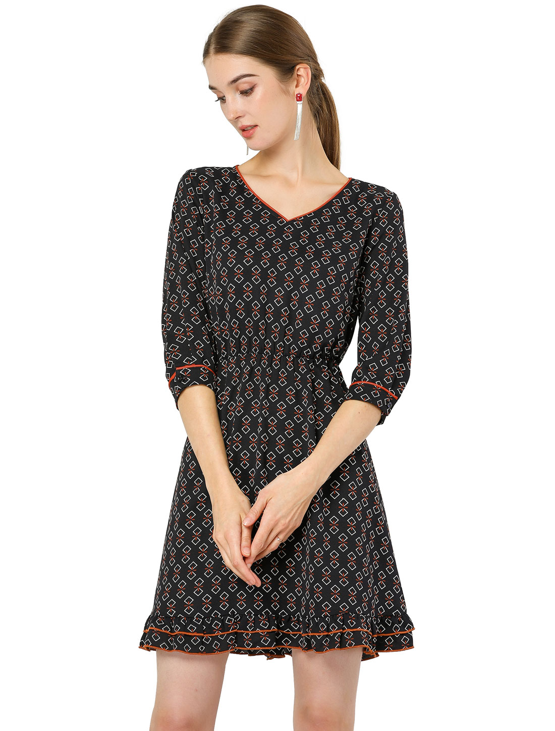 Women's V Neck Ruffle Hem Geometric Motifs Flare Chiffon Dress Navy Blue L