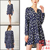 Women's Floral V Neck Cinched Waist Long Sleeve Casual Dress Navy Blue L