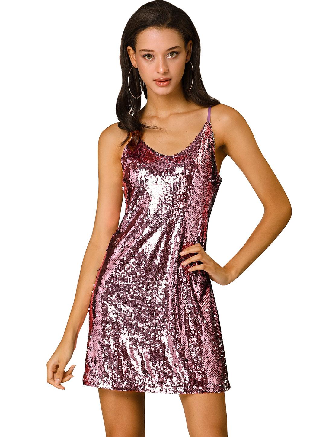 Women's Glitter Sequin V Neck Spaghetti Strap Party Dress Light Pinks L