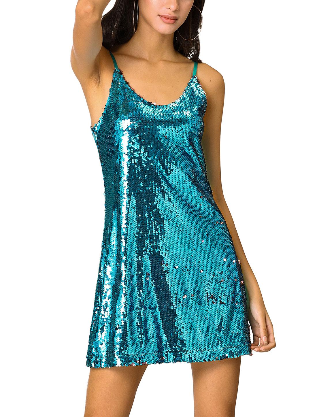 Women's Glitter Sequin V Neck Spaghetti Strap Party Dress Water Blue S