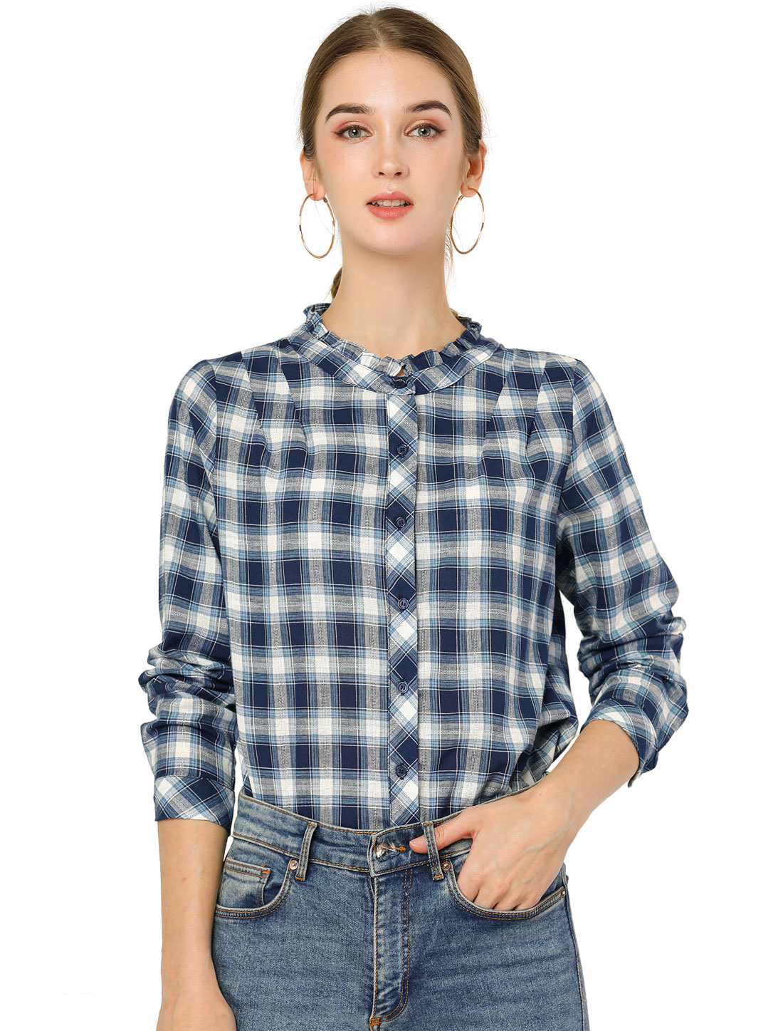 Allegra K Women's Fall Blouse Long Sleeve Ruffle Plaid Shirt Blue XS (US 2)