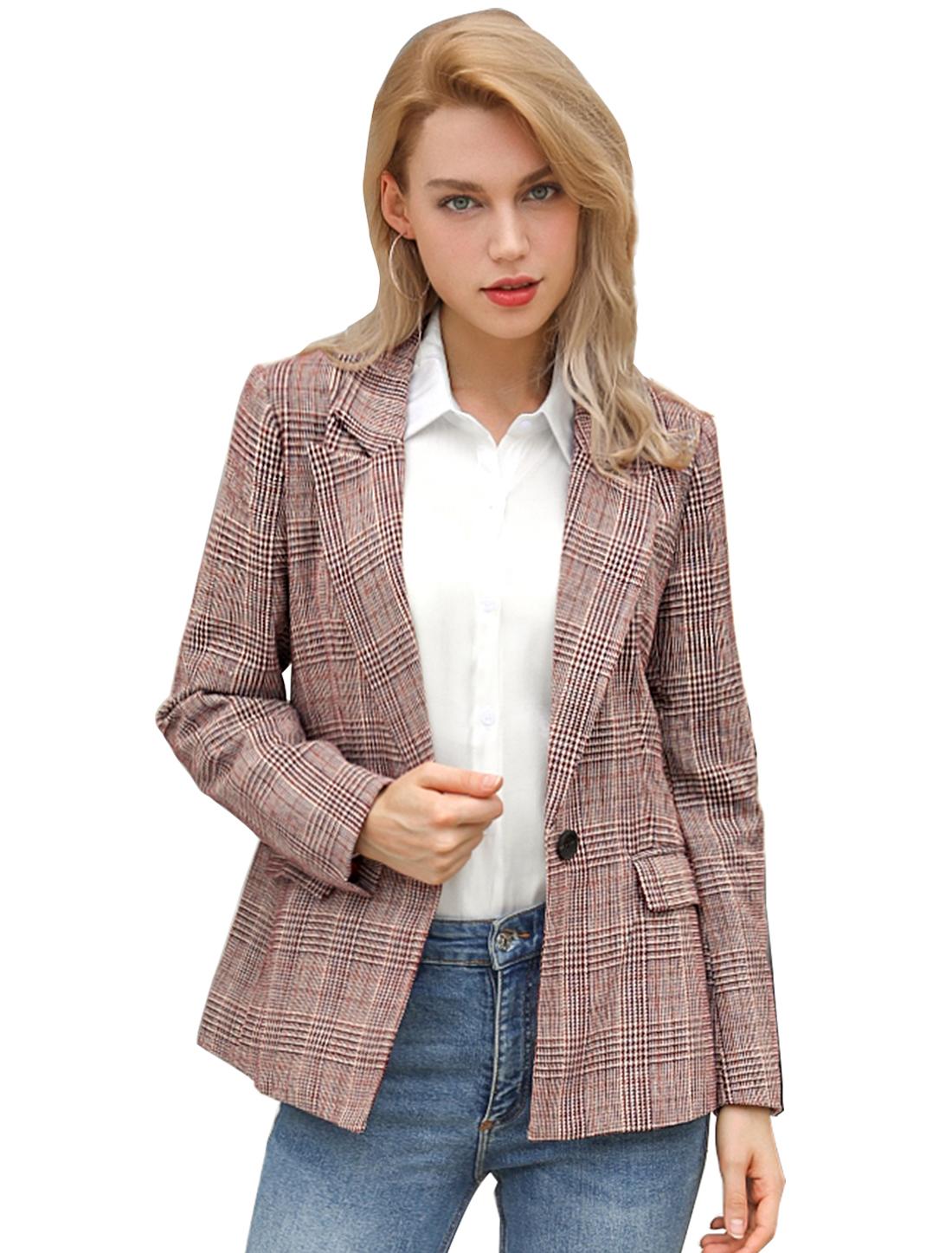 Women's Plaid Notched Lapel One Button Houndstooth Blazer Jacket Burgendy M