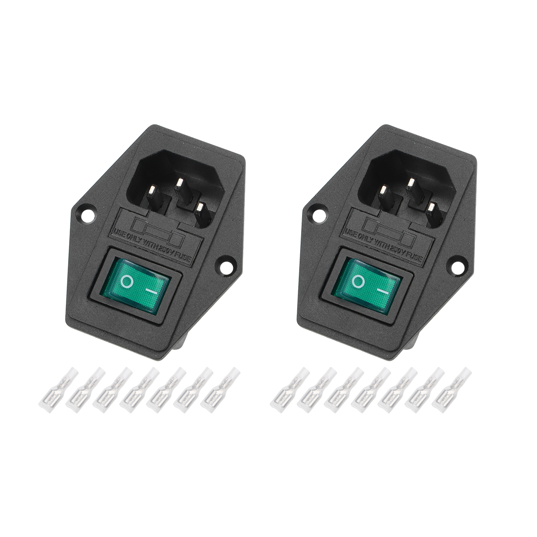 2Set 59x48x30mm Plug 4Pin 2Position Led Switch w Terminal and Protective Sleeve