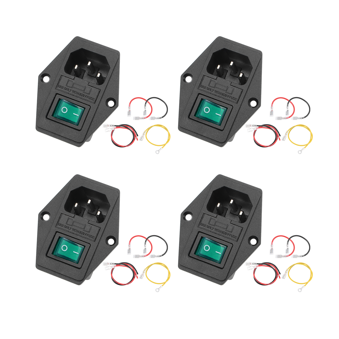 4Set 59x49x30mm Male Plug 4Pin 2Position GreenLED Switch with 110 200 260mm Wire