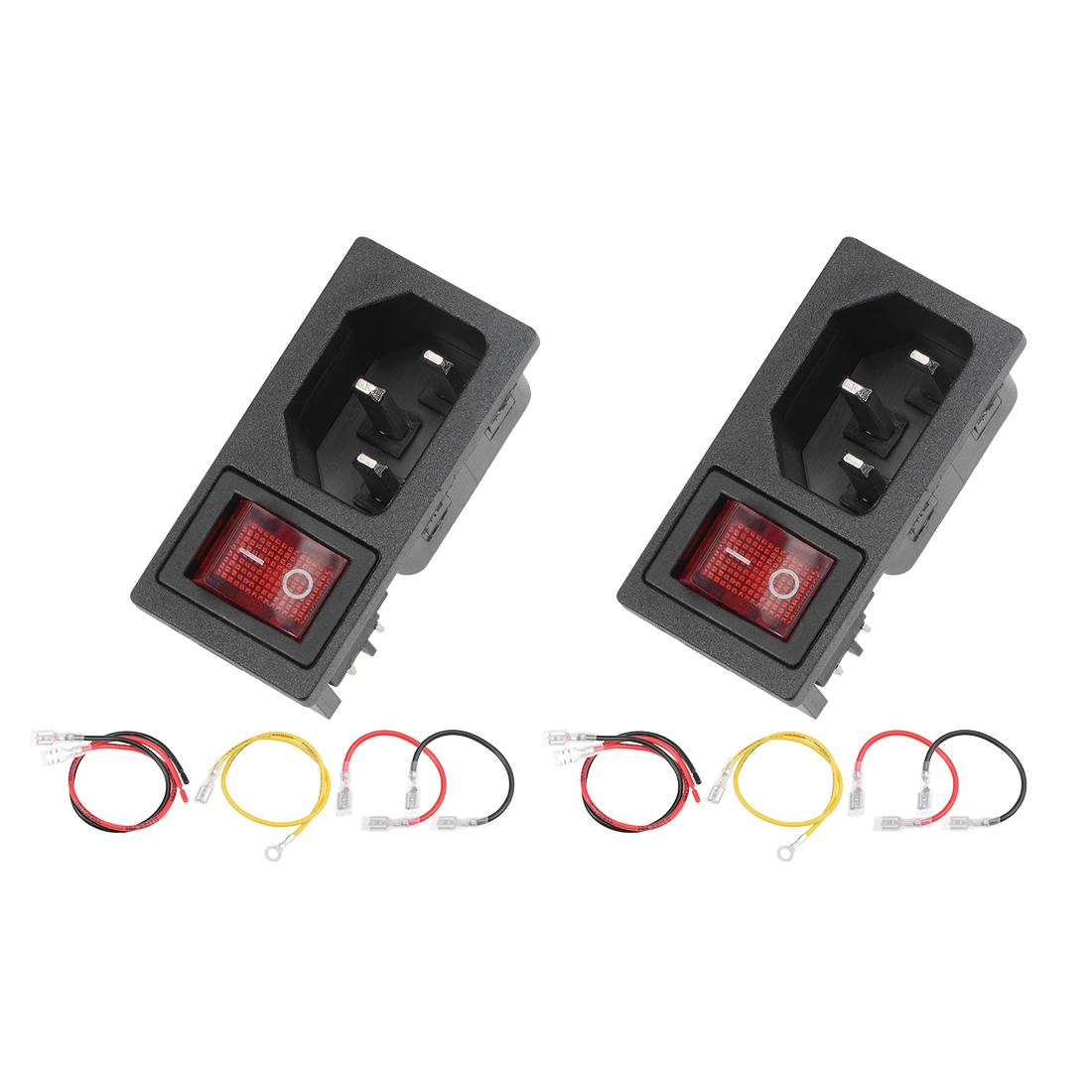 2Set 49x24x28mm Male Plug 4Pin 2Position Led Red Switch with 110 200 260mm Wire