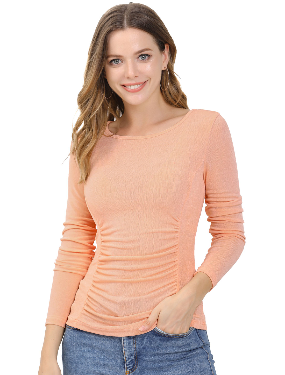 Allegra K Women Ruched Crew Neck Stretchy Slim Fit Shirt Tops Pink XS