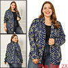 Women Plus Size Paint Splatter Zipper Long Sleeve Printed Blazer Blue 2X