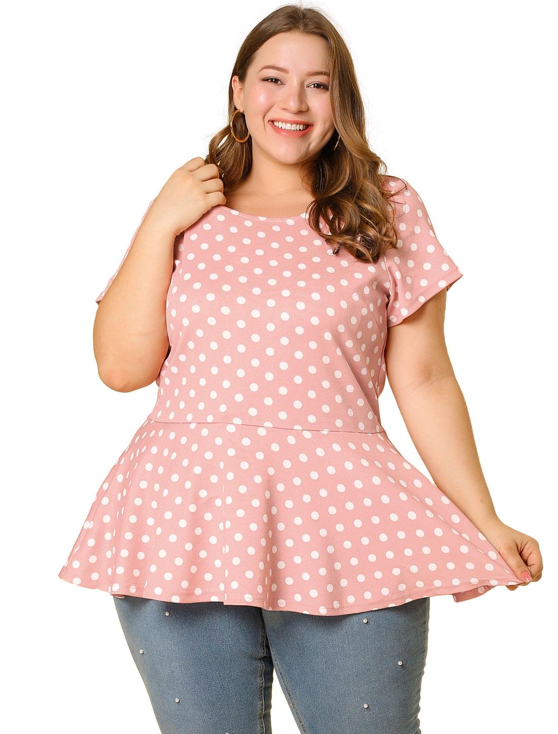 Women Plus Size Short Sleeves Polka Dots Peplum Top Pink 1X