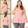 Women Plus Size Short Sleeves Polka Dots Peplum Top Pink 1X