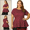 Women Plus Size Short Sleeves Polka Dots Peplum Top Burgundy 4X