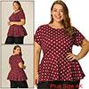 Women Plus Size Short Sleeves Polka Dots Peplum Top Burgundy 4X
