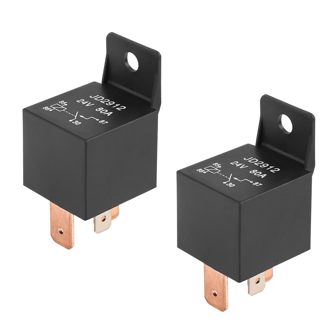 2pcs 4 Pin DC 24V 80Amp Universal Car Vehicle Relay Switch Power Starter Black