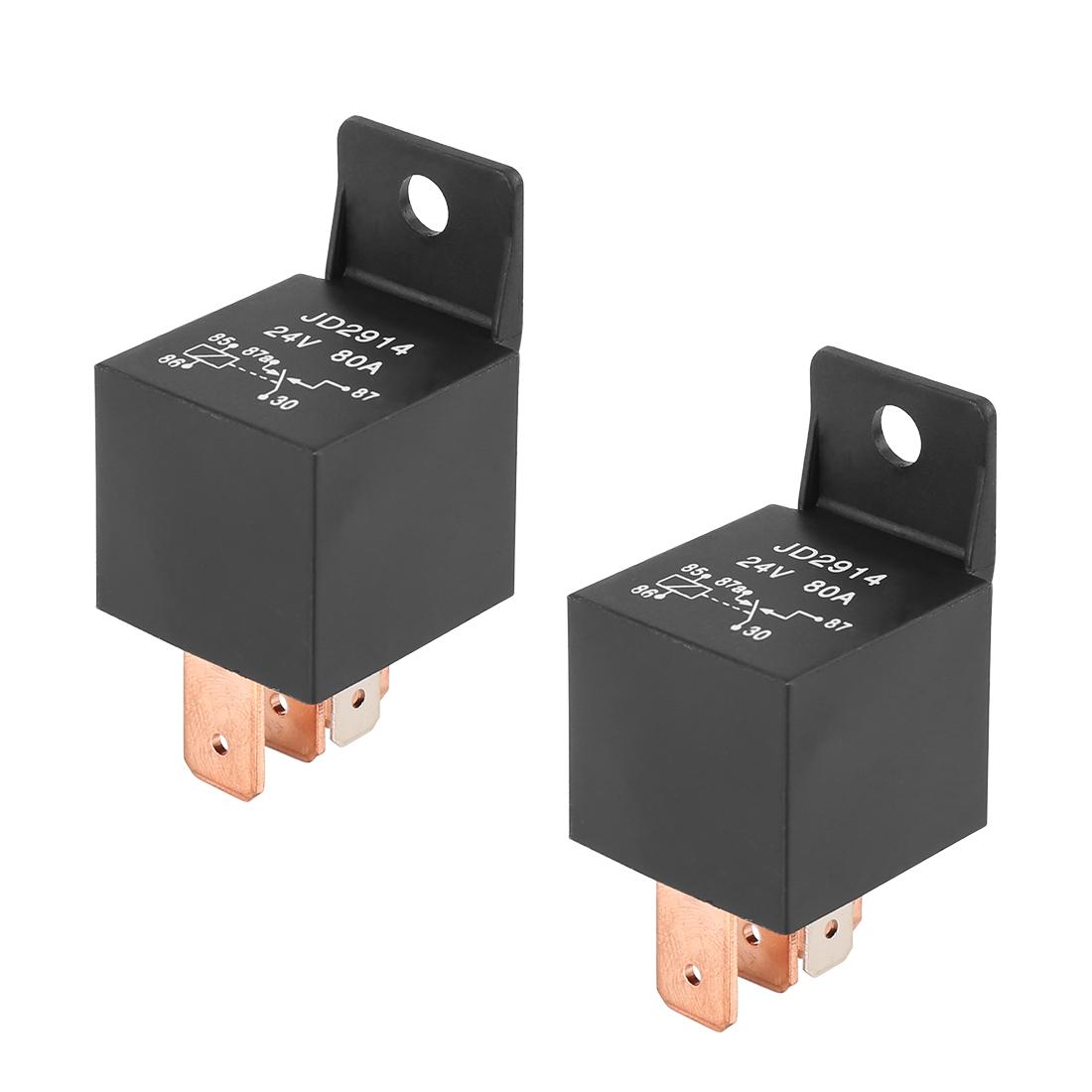 2pcs 5 Pin DC 24V 80Amp Universal Car Vehicle Relay Switch Power Starter Black