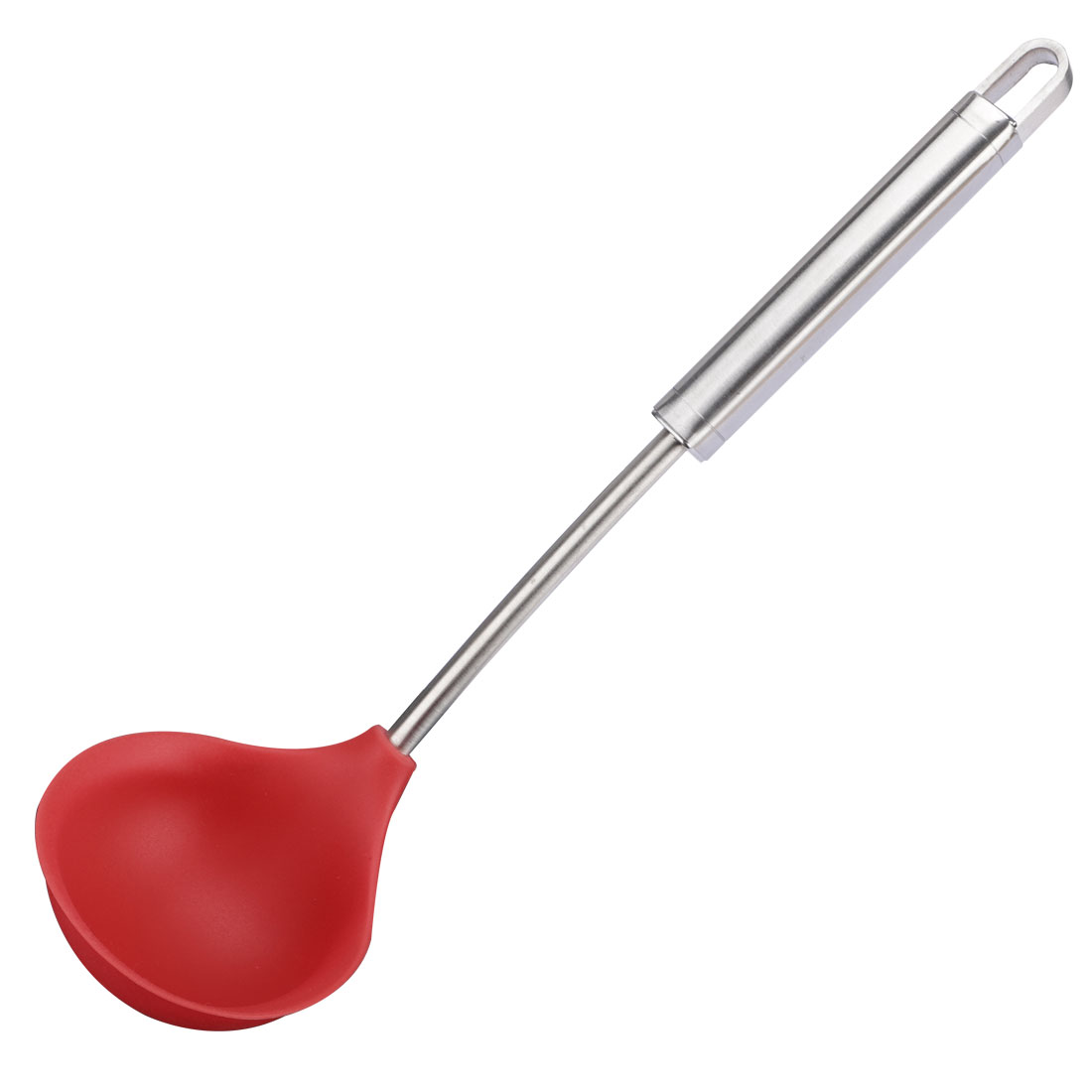 Silicone Soup Spoon Ladle Kitchen Serving Utensil for Cooking Baking Gruel Red