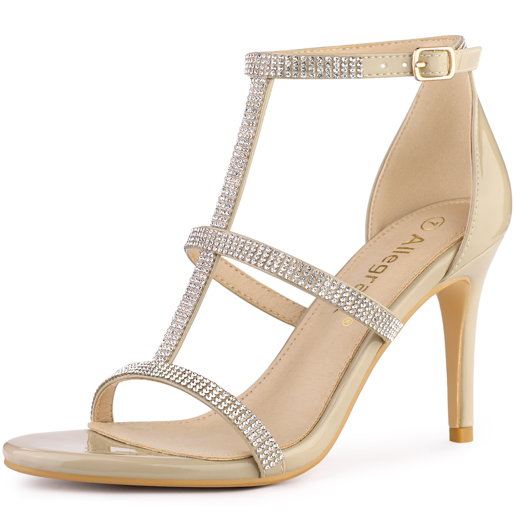 Allegra K Women's Rhinestone Ankle Strap Stiletto High Heel Sandals Beige US 6