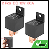 2pcs 5 Pin DC 12V 80Amp Universal Car Vehicle Relay Switch Power Starter Black