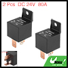 2pcs 4 Pin DC 24V 80Amp Universal Car Vehicle Relay Switch Power Starter Black