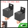 2pcs 5 Pin DC 24V 80Amp Universal Car Vehicle Relay Switch Power Starter Black
