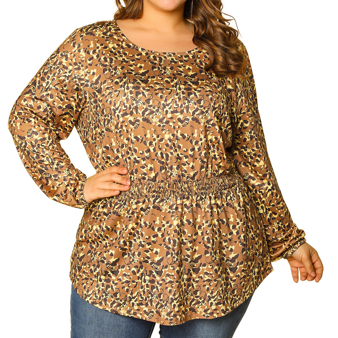 Women's Plus Size Blouse Floral Leopard Long Sleeve Tops Brown 2X