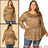 Women's Plus Size Blouse Floral Leopard Long Sleeve Tops Brown 1X