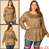 Women's Plus Size Blouse Floral Leopard Long Sleeve Tops Brown 2X