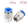 PT3/8 Male Thread 10mm Push to Connectors Quick Fittings Silver Tone 2Pcs