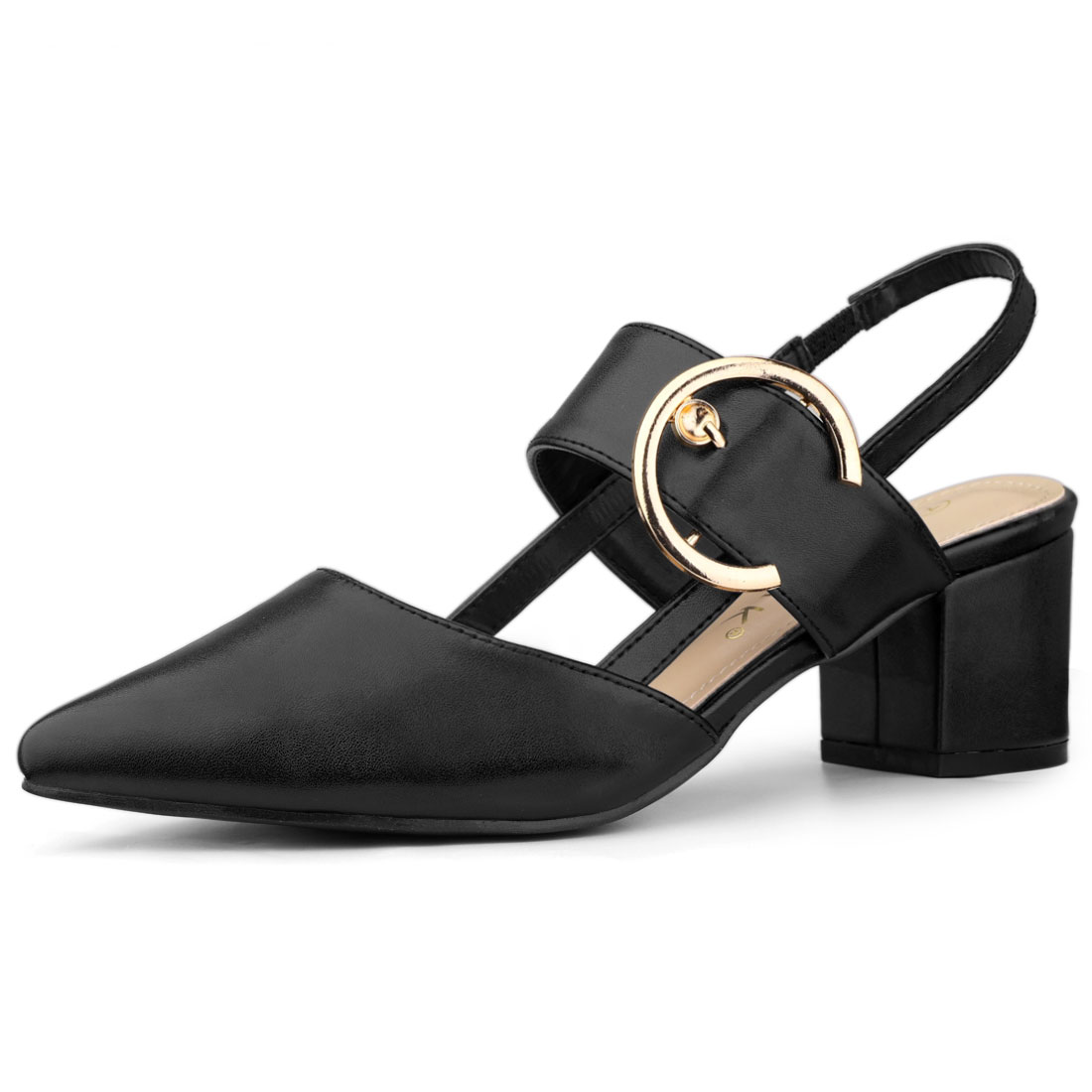 Allegra K Women's Pointed Toe Chunky Heels Mules Pumps Black US 9