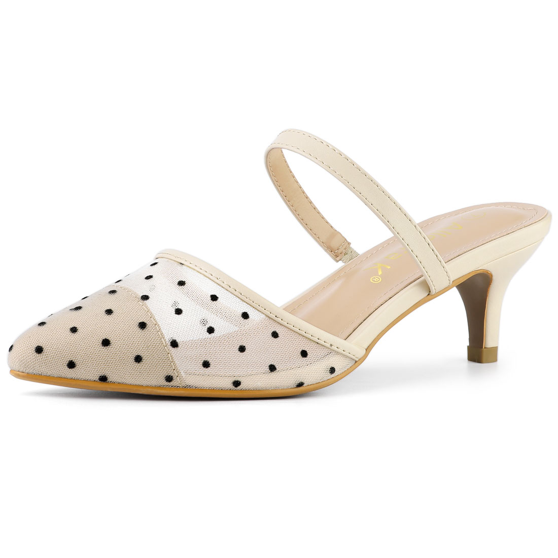 Allegra K Women's Point Toe Polka Dot Kitten Heel Mesh Mules Beige US 6