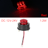 Round 7 LED Red Light Truck Side Marker Indicators Light Clearance Lamp