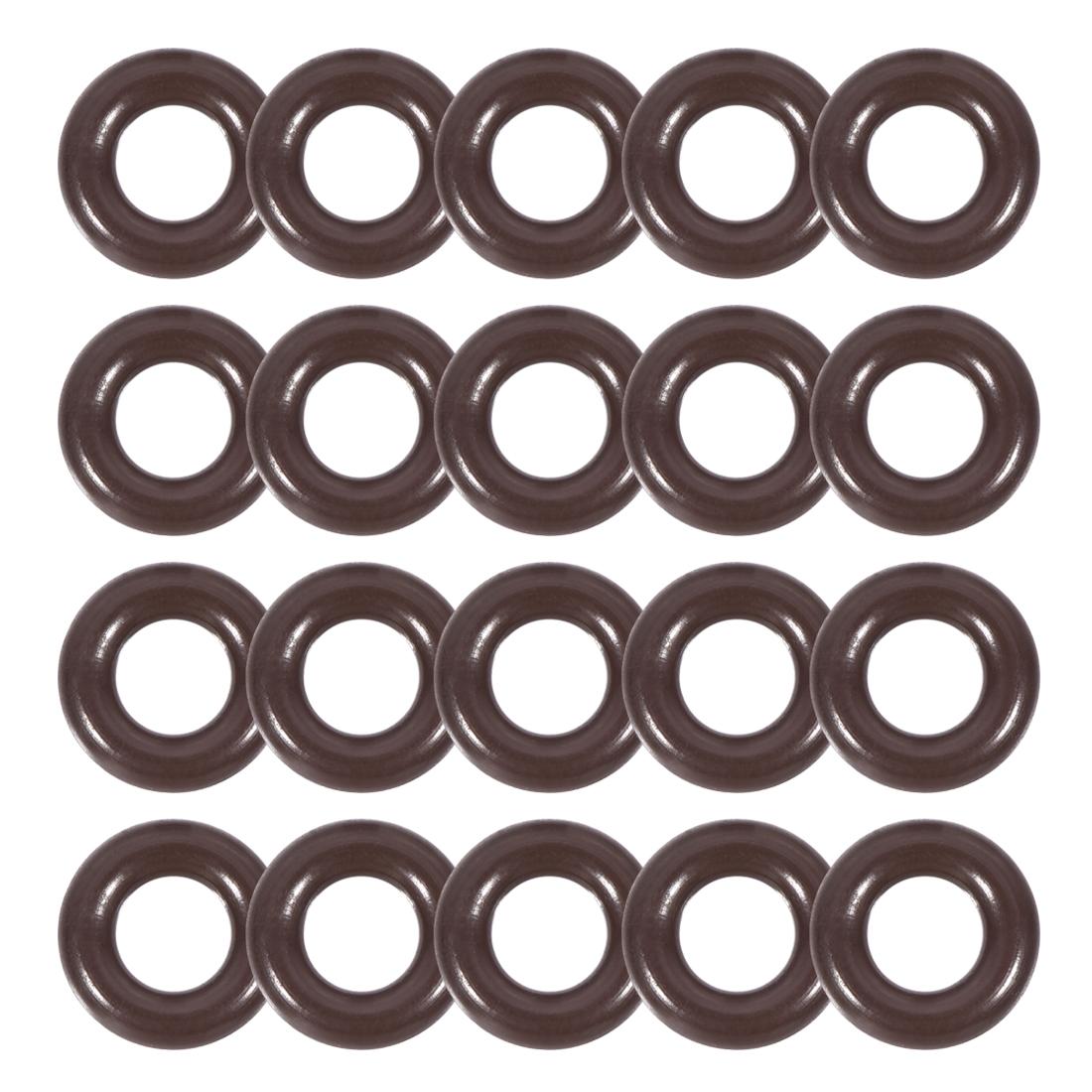 Fluorine Rubber O-Rings 7.6mm OD 4mm ID 1.8mm Width Seal Gasket Brown 20pcs