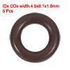 Fluorine Rubber O-Rings 8.1mm OD 4.5mm ID 1.8mm Width Seal Gasket Brown 5pcs