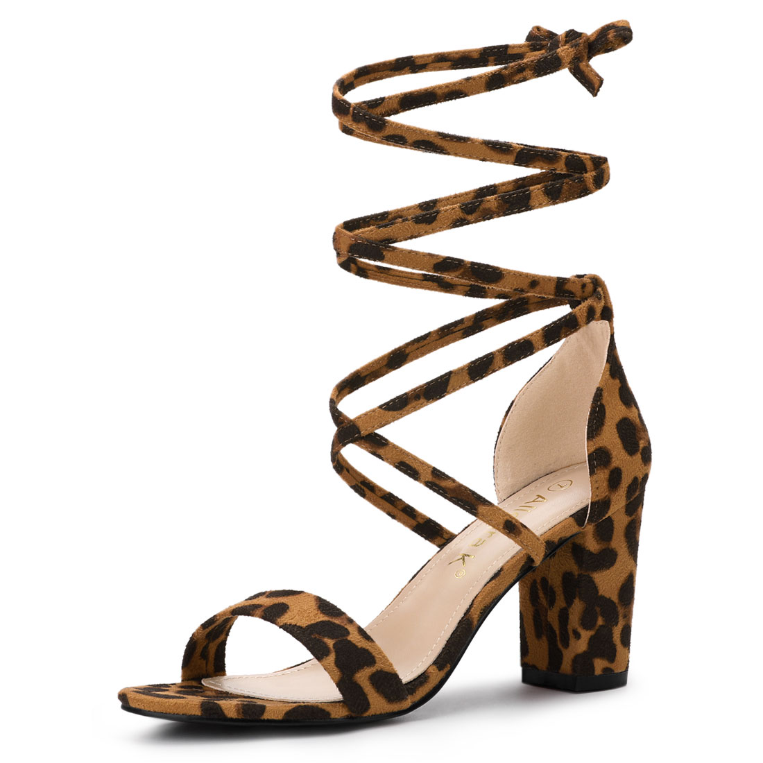 Allegra K Women's One Strap Block Heel Lace Up Sandals Leopard US 6.5