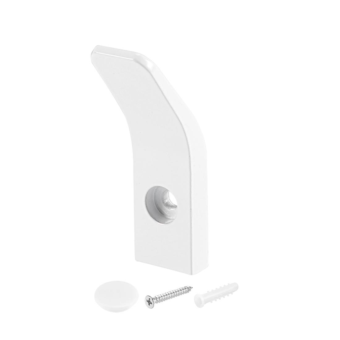 Single Hook Wall Mounted Coat Towel Hanger Aluminum Hooks 70x20mm White 4Pcs