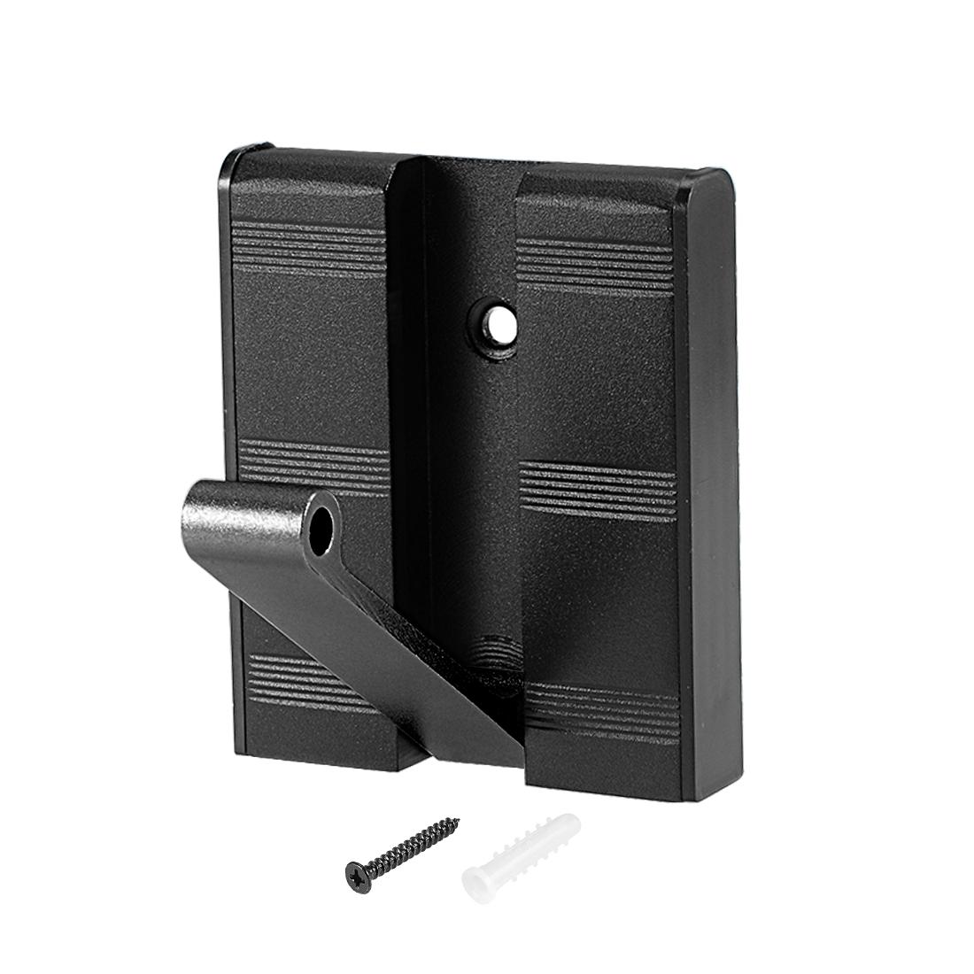 Single Hooks Coat Rack Flip Wall Mount Aluminum Hook 70x60x13mm Black 2Pcs