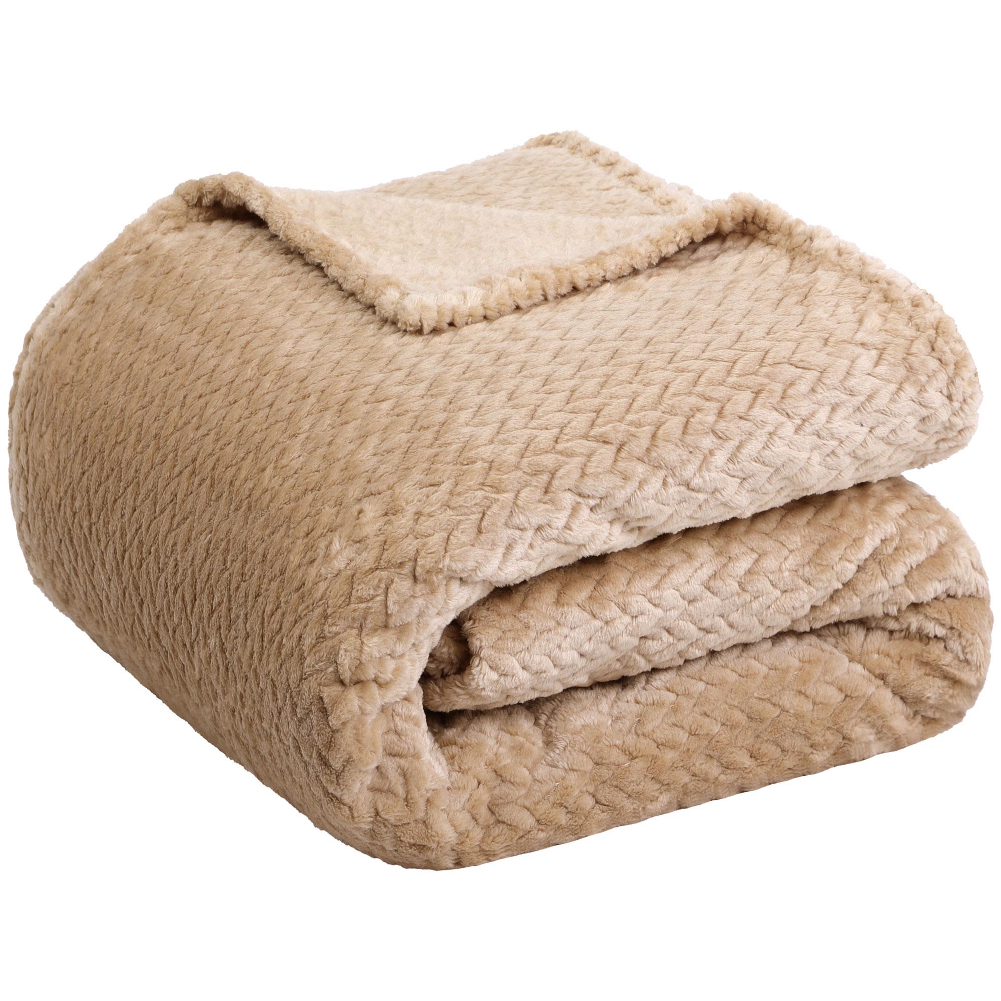 "New Luxury Leaves Queens Fleece Warm Large Sofa Blankets 78"" x 90"" Light Brown"