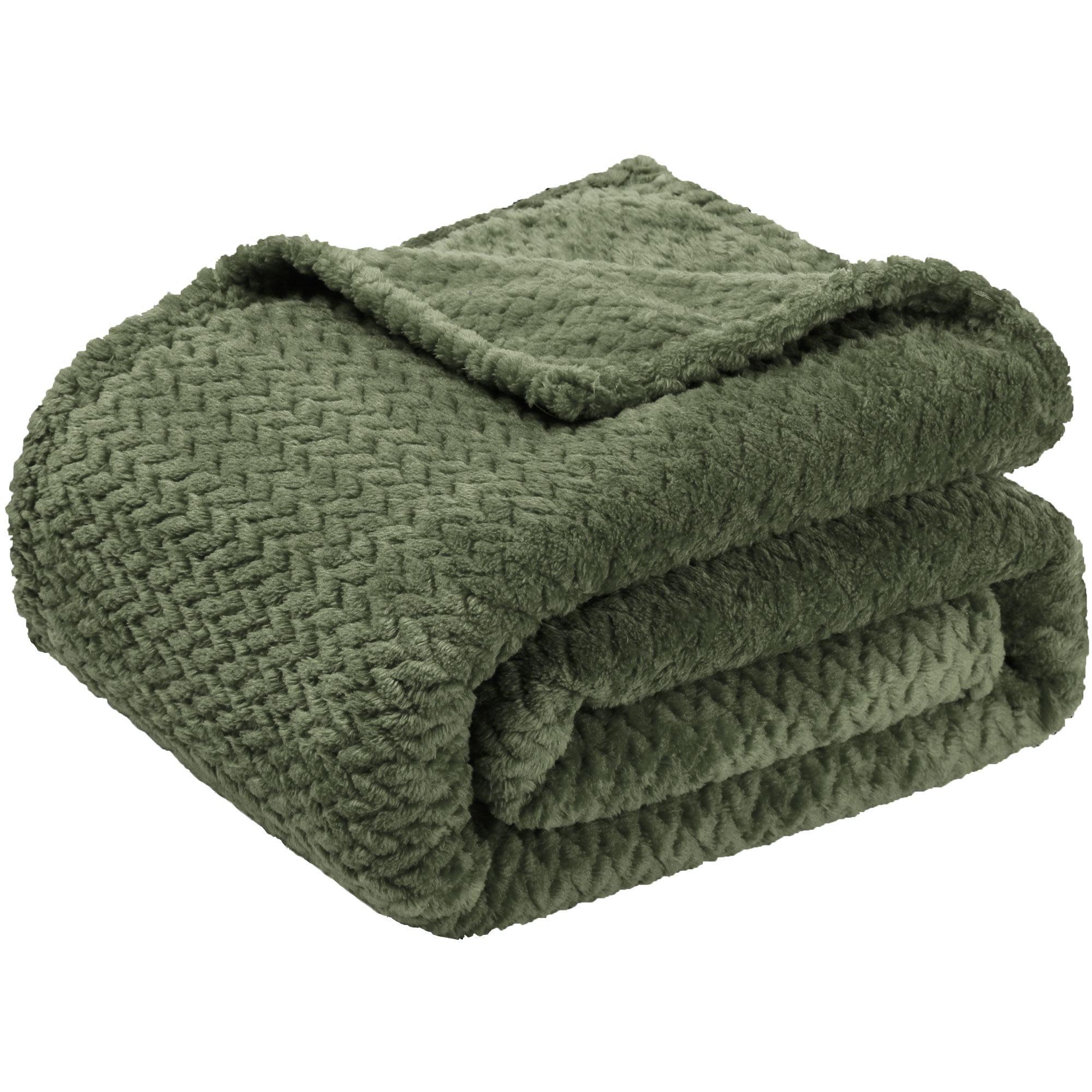 "New Luxury Leaves Throws Fleece Warm Large Sofa Blankets 50"" x 59"" Army Green"