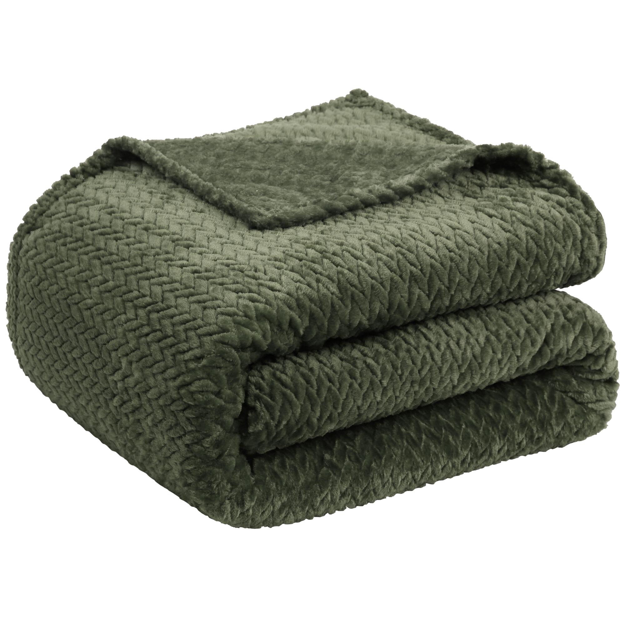 "New Luxury Leaves Twins Fleece Warm Large Sofa Blankets 59"" x 78"" Army Green"