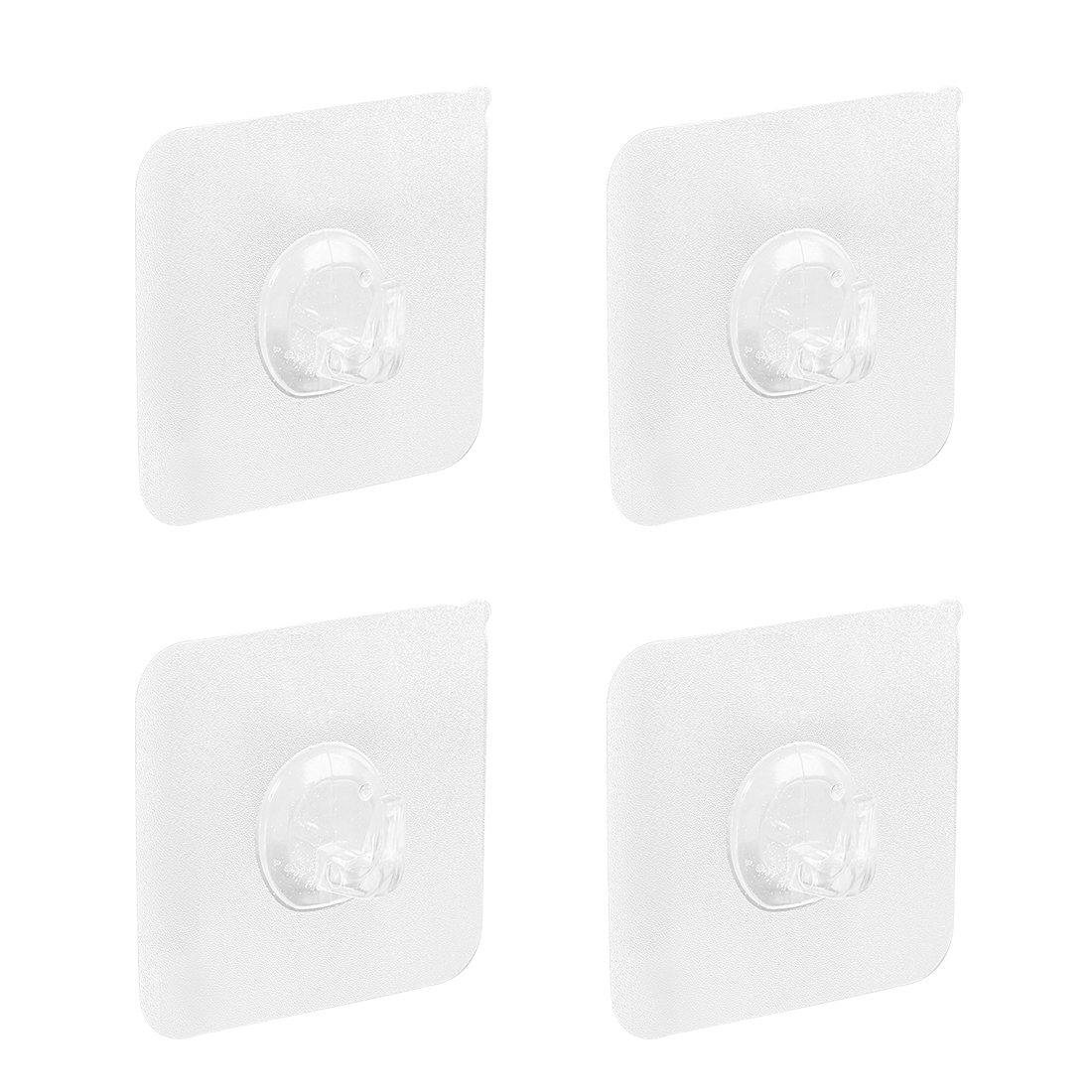 Wall Hooks Self Adhesive Hooks Plastic Waterproof Hook 60mmx60mm Clear , 4pcs