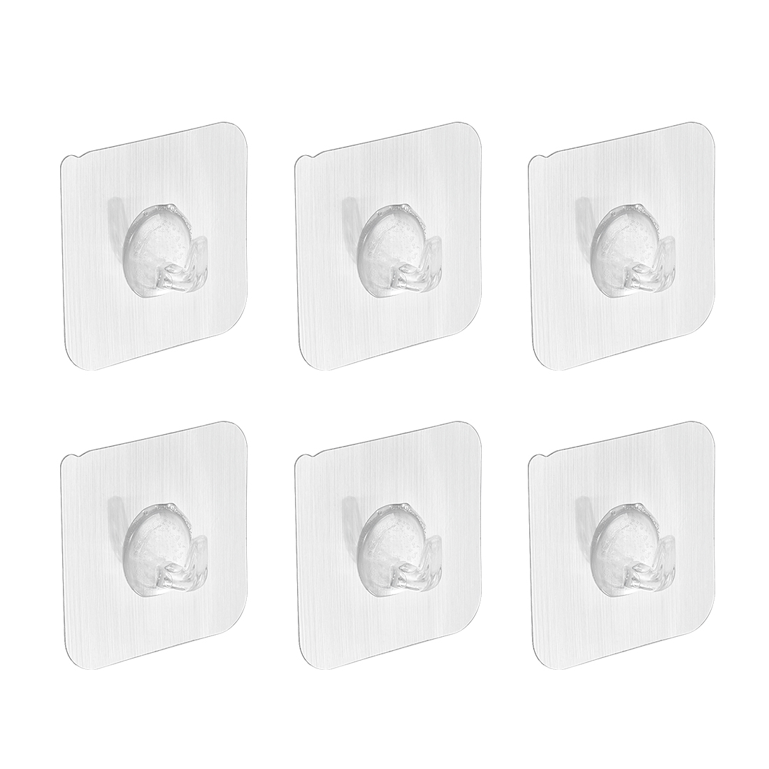 Wall Hooks Self Adhesive Hooks Waterproof Hook 60mmx60mm Silver Tone , 6pcs