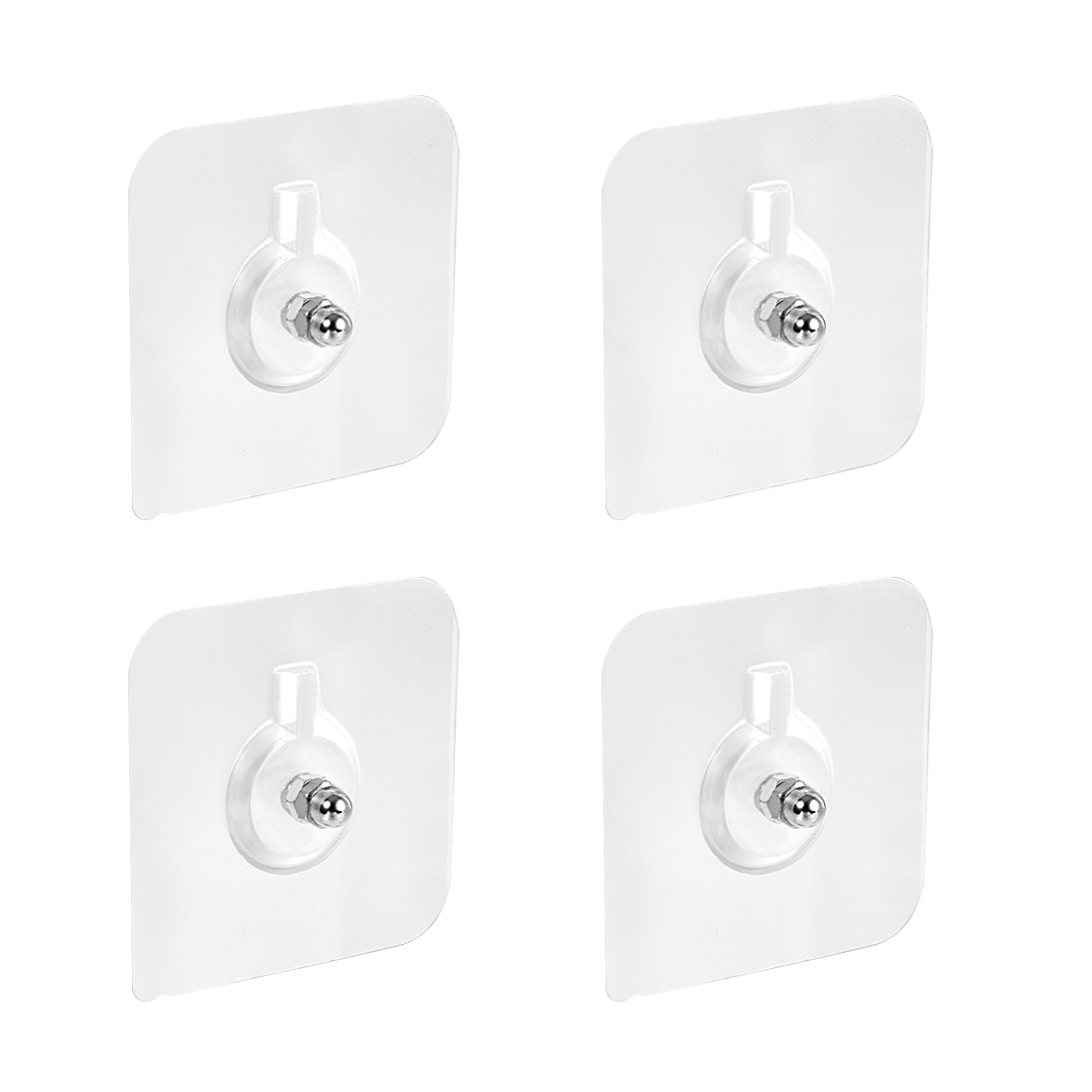 Wall Hooks Self Adhesive Hooks 6mm Thread 60mmx60mm Waterproof PVC Clear 4pcs