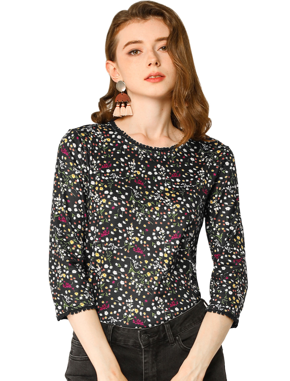 Allegra K Women's 3/4 Sleeves Lace Trim Floral Top Black XS