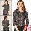 Allegra K Women's 3/4 Sleeves Lace Trim Floral Top Black X-Large