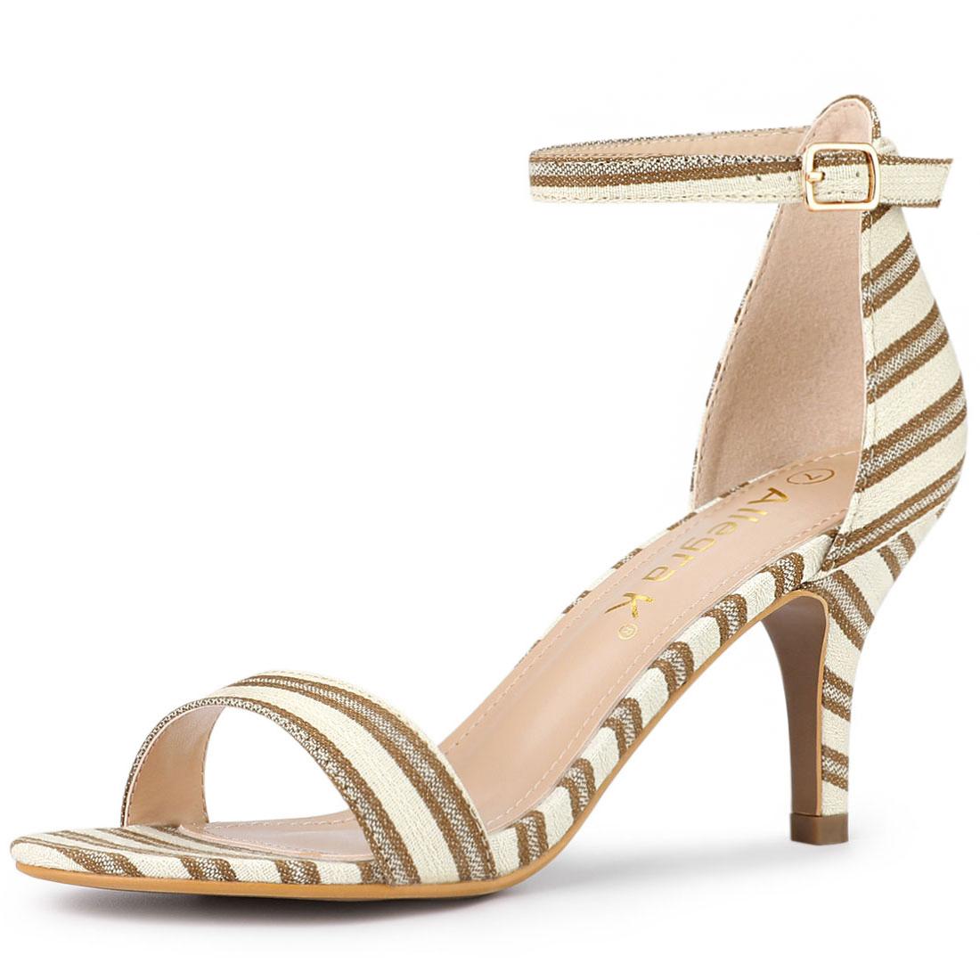 Allegra K Women's Stripe Ankle Strap Stiletto Heel Sandals Brown US 6
