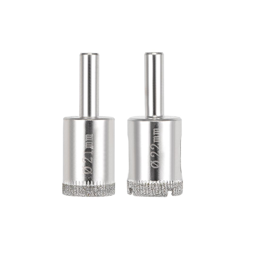 Diamond Drill Bits Set Glass Tile Core Drill Bits Hole Saws 2 Pcs (21mm, 22mm)