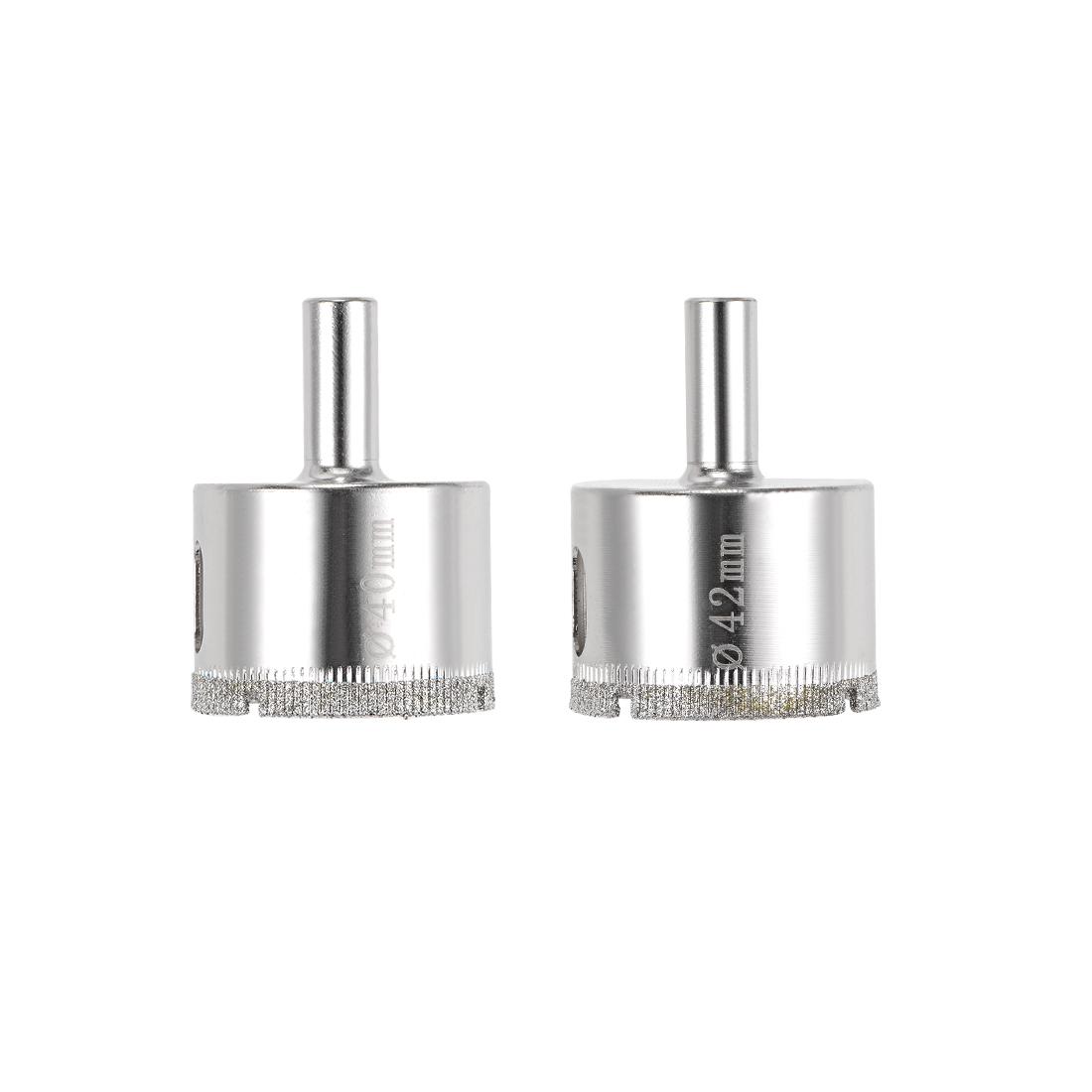 Diamond Drill Bits Set Glass Tile Core Drill Bits Hole Saws 2 Pcs (40mm, 42mm)