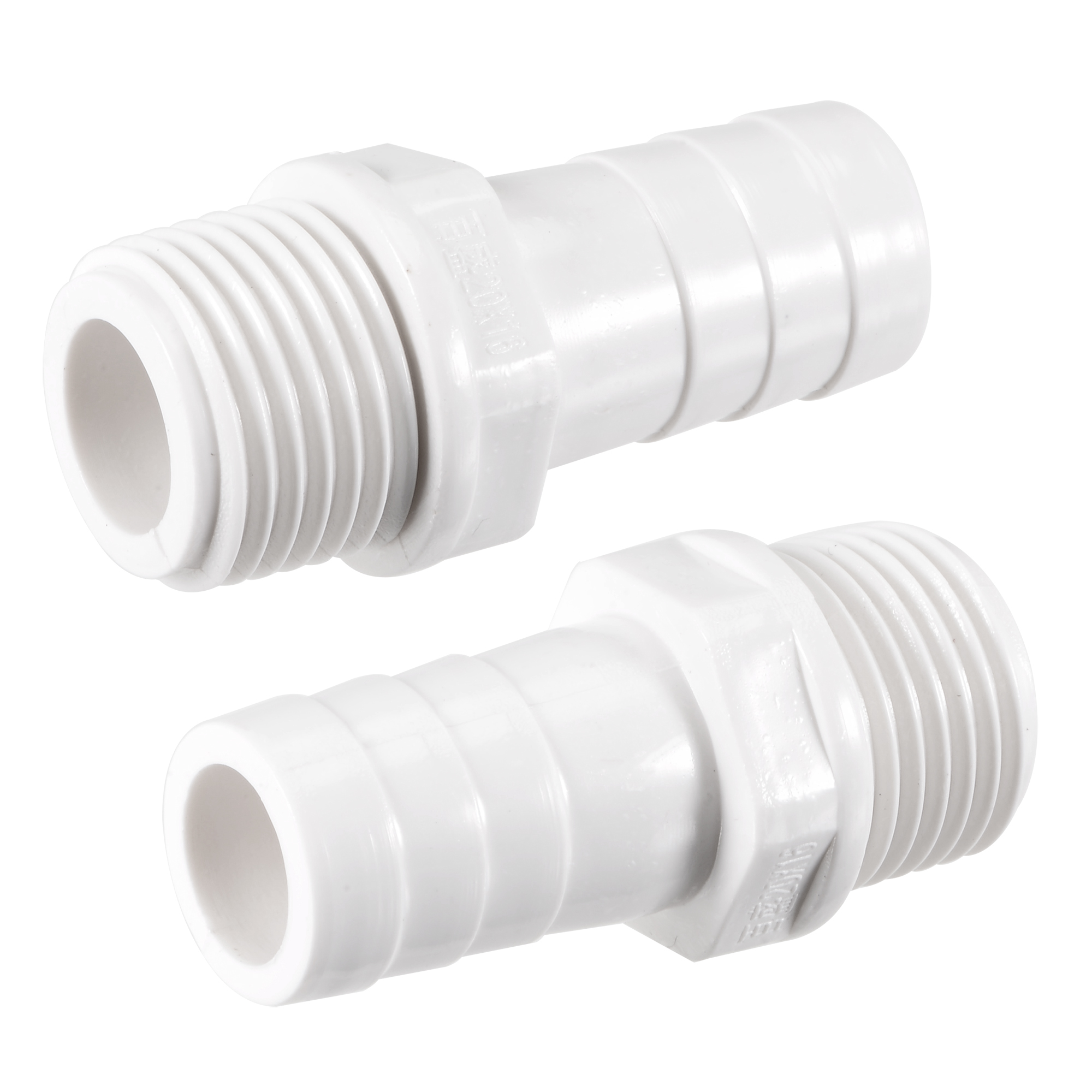 PVC Tube Fitting Adapter 16mm Barbed x G1/2 Male White for Aquariums 2Pcs